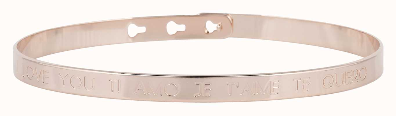 "Mya Bay Rose Gold PVD ""je'aime I Love You Ti Amo Te Quiero Bangle JC-03.P"
