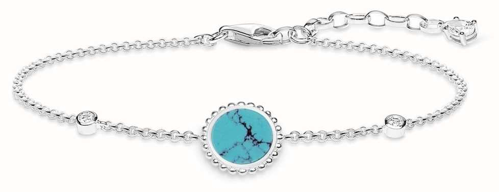 Thomas Sabo Womens Glam And Soul Sterling Silver Turquoise Bracelet A1767-405-17-L19V