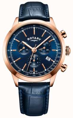 Rotary Men's Cambridge Chronograph Blue Leather watch GS05257/05