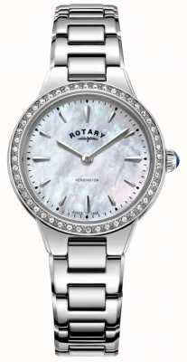 Rotary Women's Kensington Mother Of Pearl Stone Set Bezel LB05275/07