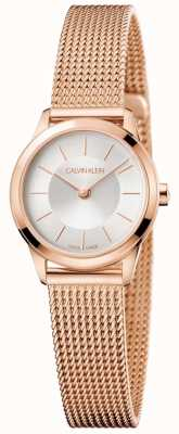 Calvin Klein Ladies Rose Gold Mesh Bracelet White Dial K3M23626