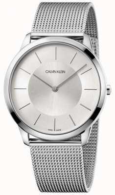 Calvin Klein Mens Minimal Grey Mesh Bracelet Silver Dial K3M2T126