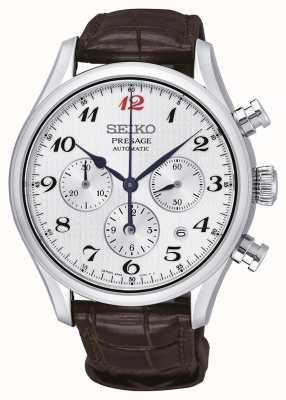 Seiko Mens Presage Automatic Chronograph Brown Leather Strap SRQ025J1