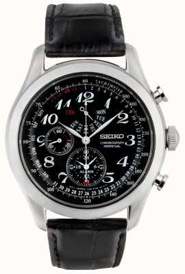 Seiko Mens Chronograph Watch Black Dial Black Leather Strap SPC133P1