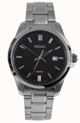 Seiko Mens Dress Watch Silver Bracelet Black Dial SUR245P1