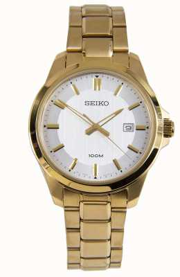 Seiko Mens Dress Watch Gold Bracelet White Dial SUR248P1