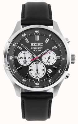 Seiko Mens Chronograph Sports Watch Black Leather Strap Black Dial SKS595P1
