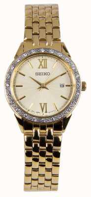 Seiko Ladies Watch Gold Bracelet Gold Dial SUR688P1