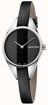 Calvin Klein Ladies Rebel Black Leather Thin Strap Watch K8P231C1