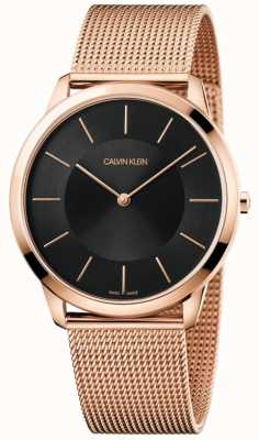 Calvin Klein Mens Minimal Rose Gold Mesh Bracelet Black Dial Watch K3M2T621