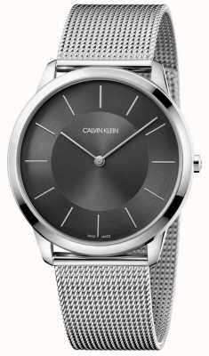 Calvin Klein Mens Minimal Silver Stainless Mesh Bracelet Black Dial Watch K3M2T124