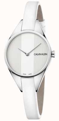 Calvin Klein Ladies Rebel White Leather Thin Strap Watch K8P231L6