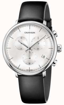 Calvin Klein Mens High Noon Black Leather Strap Chronograph Watch K8M271C6