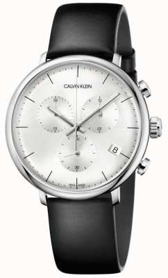 Calvin Klein Mens High Noon Black Leather Strap Chronograph Watch K8M271C6