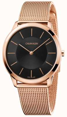 Calvin Klein Mens Minimal Rose Gold Mesh Bracelet Black Dial Watch K3M2162Y