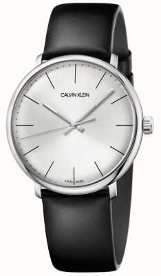 Calvin Klein Mens High Noon Silver Dial Black Leather Strap K8M211C6