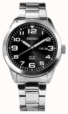 Seiko Mens Solar Silver Bracelet Black Dial SNE471P1