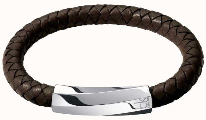 Calvin Klein Mens Bewilder Brown Leather Twisted Bracelet KJ2BCB09010M