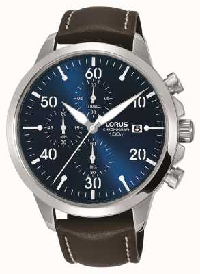 Lorus Mens Chronograph Watch Brown Leather Strap Blue Dial RM353EX9