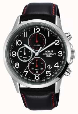 Lorus Mens Chronograph Watch Black Leather Strap Black Dial RM369EX8