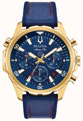 Bulova Mens Marine Star Strap Leather Chronograph 97B168
