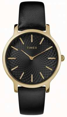 Timex Womens Skyline 34mm Black Leather Strap Black Dial TW2R36400