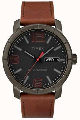 Timex Mens Mod 44 Tan Leather Strap Black Dial TW2R64000