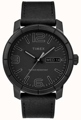 Timex Mens Mod 44 Black Leather Strap Black Dial TW2R64300