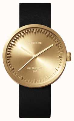 Leff Amsterdam Tube Watch D38 Brass Case Black Leather Strap LT71021