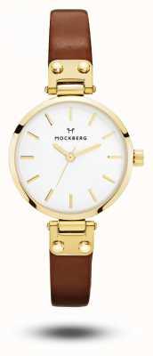 Mockberg Ilse Petite Brown Leather Strap White Dial MO208
