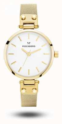 Mockberg Livia Petite Gold PVD Plated Mesh Bracelet White Dial MO401