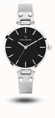 Mockberg Elise Petite Noir Stainless Steel Mesh Bracelet Black Dial MO404