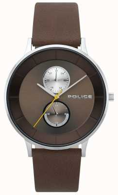Police Mens Berkeley Brown Leather Strap Watch 15402JS/12