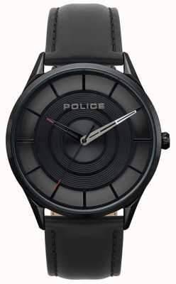 Police Mens Burbank Black Leather, Black Ip Case Watch 15399JSB/02