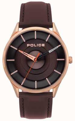 Police Mens Burbank Brown Leather Watch 15399JSR/12