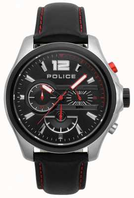 Police Mens Denver Black And Red Leather Strap Watch 15403JSTB/02