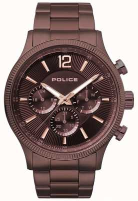 Police Mens Feral Brown Ip Plated Bracelet Watch 15302JSBN/12M