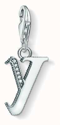 Thomas Sabo Letter Y Pendant Sterling Silver Blackened Zirconia 1605-643-21