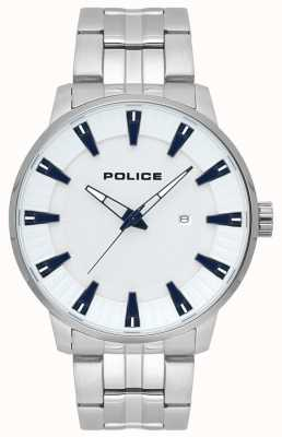 Police Mens Flint Stainless Steel White Dial Watch 15391JS/04M