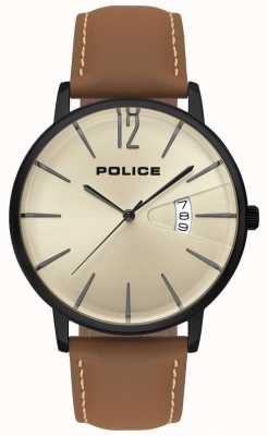 Police Mens Virtue Brown Leather Watch 15307JSB/07