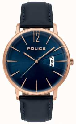 Police Mens Virtue Blue Leather Watch 15307JSR/03