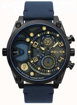 Police Mens Vigor Blue Leather Strap Watch 15381JSB/61