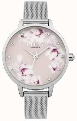 Lipsy Womens Silver Mesh Pink Floral Dial Watch LP576