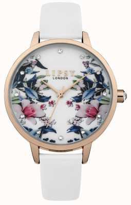 Lipsy Womens White Strap Floral Dial Watch LP572