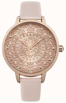 Lipsy Womens Rose Gold Lace Pattern Dial Watch LP571