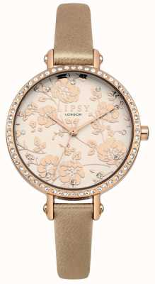 Lipsy Womens Rode Gold Strap With Rose Gold Floral Dial Watch LP584