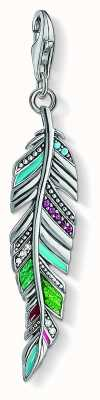 Thomas Sabo Sterling Silver Ethnic Feather Ceramic Stone Set Zirconia Y0034-340-7