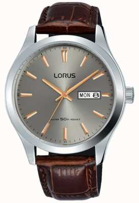 Lorus Stainless Steel Case Grey Dial Brown Leather Strap RXN61DX9