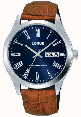 Lorus Brown Leather Strap Dark Blue Dial Date & Day Display RXN55DX9