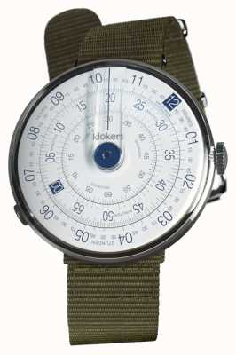Klokers KLOK 01 Blue Watch Head Lichen Green Textile Single Strap KLOK-01-D4.1+KLINK-03-MC2